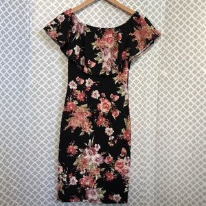 🌞 Lovely Cecy floral ruffle top stretchy dress